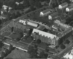 Thumbnail of Oxley Hall (left), The Ohio State University: Aerial view, shown with Mack Hall and Canfield Hall
