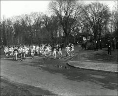 Thumbnail of Ohio Field and Ohio Field Buildings, The Ohio State University: Cross country event showing woods, entrance drive and rear of west bleachers, 1920