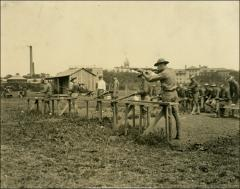 Thumbnail of Rifle Range, The Ohio State University: Soldiers on range, 1918