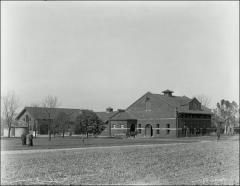 Thumbnail of Horse Barn and Implement Barn (later Ives Hall), The Ohio State University: Exterior view from southeast, 1920