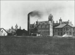 Thumbnail of University Hall and First Power Plant, The Ohio State University: Exterior view from North