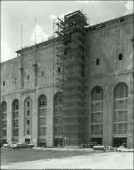 Thumbnail of Ohio Stadium, The Ohio State University: Exterior view showing elevator under construction, 1964