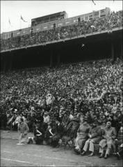 Thumbnail of Ohio Stadium, The Ohio State University: Interior view of tiered seating and press box, 1940