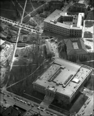 Thumbnail of Sullivant Hall, The Ohio State University: Aerial view of Sullivant (bottom), Page (middle) and Hagerty (top) halls