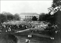 Thumbnail of Page Hall, The Ohio State University: View across Oval during Cane Rush, 1909