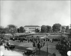Thumbnail of Oval, The Ohio State University: View across Oval toward Page Hall during Prize Drill, 1907