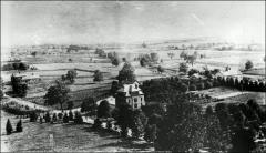 Thumbnail of Veterinary Hospital (left) and Experiment Station (middle), The Ohio State University: View looking southwest from University Hall, 1890