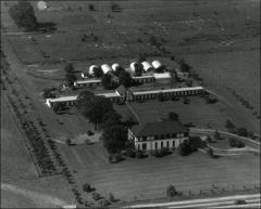 Thumbnail of Poultry Administration Building, The Ohio State University: Aerial view ca. 1948