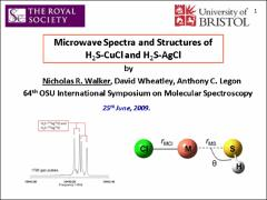 Thumbnail of MICROWAVE SPECTRA AND STRUCTURES OF H$_2$S-CuCl AND H$_2$S-AgCl.