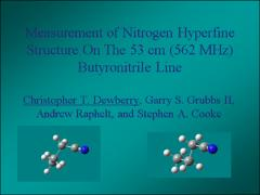 Thumbnail of MEASUREMENT OF NITROGEN HYPERFINE STRUCTURE ON THE 53 CM (562 MHz) BUTYRONITRILE LINE