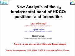 Thumbnail of NEW ANALYSIS OF THE $\nu_3$ BAND OF HDCO (MONODEUTERATED FORMALDEHYDE) IN THE 5.8 $\mu$m REGION