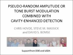 Thumbnail of PSEUDO-RANDOM AMPLITUDE OR TONE BURST MODULATION COMBINED WITH CAVITY-ENHANCED DETECTION