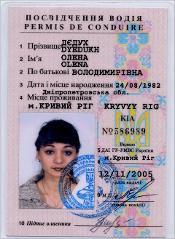 Thumbnail of Driver's license (front and back): Lena Dyedukh