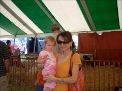 Thumbnail of Photograph: Delaware, Ohio, 2008, Olena Dyedukh and Anna Carlson at Pumpkin Festival.