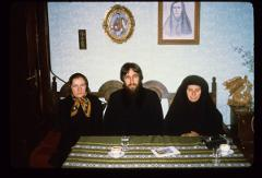 Thumbnail of Two nuns and a monk at Gračanica monastery