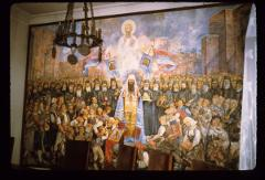 Thumbnail of Patriarch, bishop, and people praying to God and St. Sava for completion of St. Sava's hram on Vračar