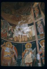 Thumbnail of Mosaics in an unidentified church -- on right: St. George -- on left: St. Nikita -- above right: St. Gerontius