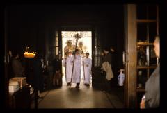 Thumbnail of Patriarch's entourage walking into the Cathedral Church (Saborna crkva)