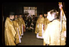 Thumbnail of Patriarch walking between two rows of vested clergymen