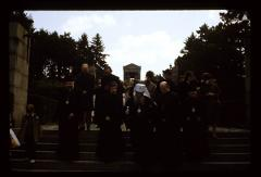Thumbnail of Patriarch at Avala -- Patriarch and clergy walking away from the Monument of the Unknown Hero