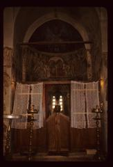 Thumbnail of Frescoes in the altar area -- three candleholders