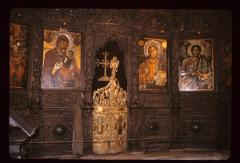 Thumbnail of Ikonostas -- Royal Doors, icons of the Theotokos (left), Jesus, and St. John the Baptist (right)