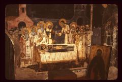 Thumbnail of The dormition of St. Naum - fresco on the wall alongside his tomb