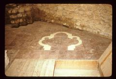 Thumbnail of Marble inlay on the floor shows the original shape of the church - St. Pantelejmon monastery