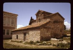 "Thumbnail of Church of Saints Constantine and Helen, Ohrid -- exterior -- present-day ""St. Kliment"" school to the left"