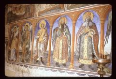 Thumbnail of St. John the Baptist, St. Dimitrius, St. Stefan of Dechani, St. Lazar Kefaloforos (carrying his head) -- nartex wall