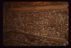 Thumbnail of Altar table -- woodcarved religious scenes and vegetation motifs