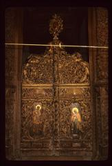 Thumbnail of Right altar door -- woodcarving, two icons