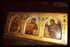 Thumbnail of The Theotokos, Christ, St. John the Baptist -- from the lower part of the wooden ikonostas