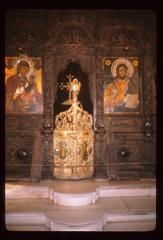 Thumbnail of Church of the Holy Savior, ikonostas -- Royal Doors, icons of the Theotokos (left) and Jesus (right)