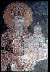 Thumbnail of King Milutin holding a model of the monastery -- ktitor's portrait