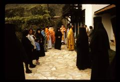 Thumbnail of Peć monastery -- courtyard with priests, nuns, parishioners