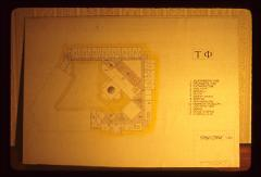 Thumbnail of Architectural drawing -- first-floor (student bedrooms, guest bedrooms, offices, seminary, chapel, auditorium)