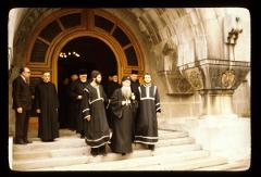 Thumbnail of Patriarch and clerics walking down the steps of the Patriarchate