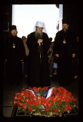 Thumbnail of Patriarch laying a wreath on the tombstone of the Unknown Hero