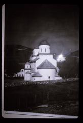 Thumbnail of Black and whitw photo of Mileševa monastery -- side view