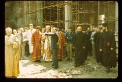 Thumbnail of Patriarch, architect Branko Pešić, and parishioners inside St. Sava Cathedral