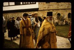 Thumbnail of Peć monastery -- religious procession in courtyard