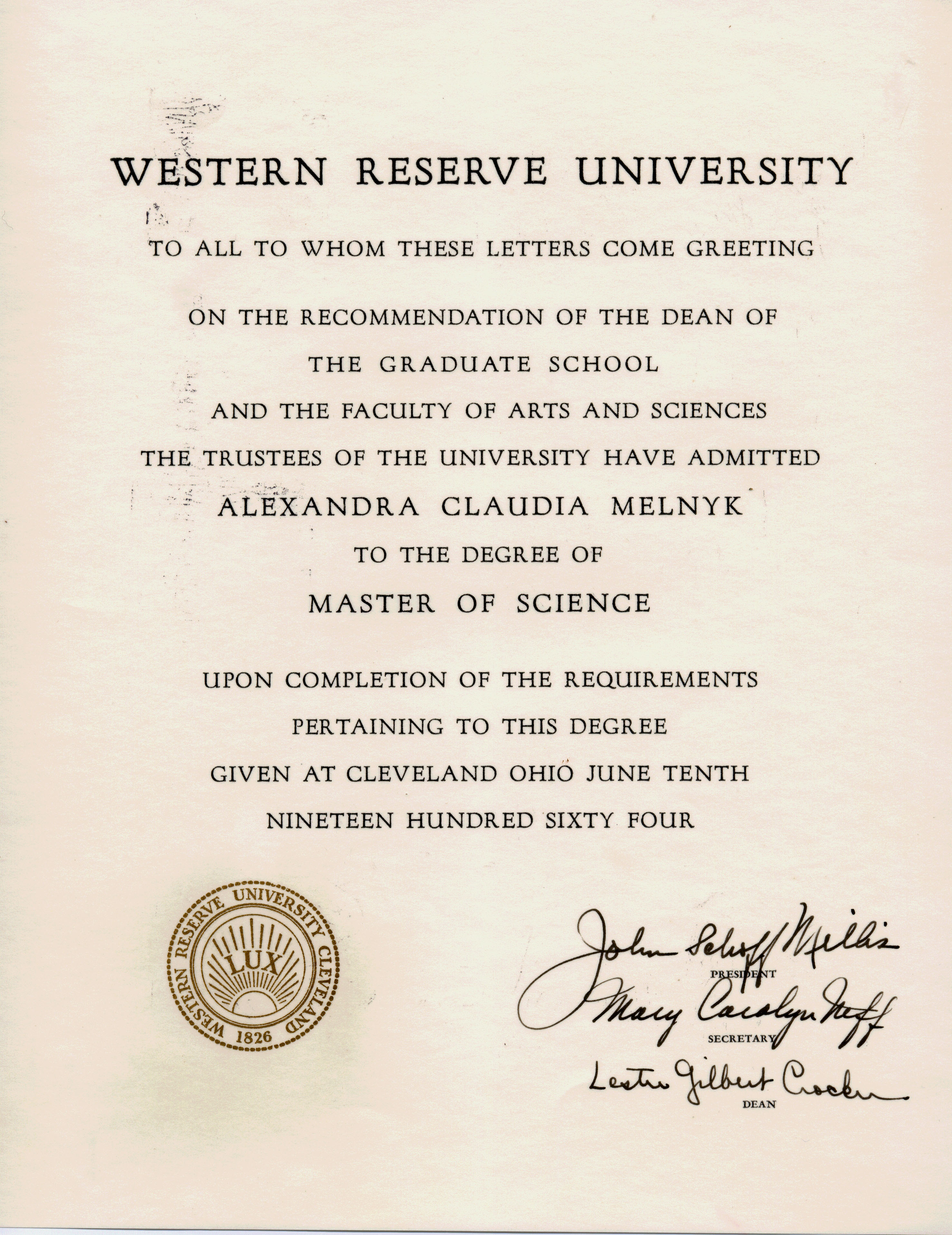 Masters Degree Certificate From Western Reserve University
