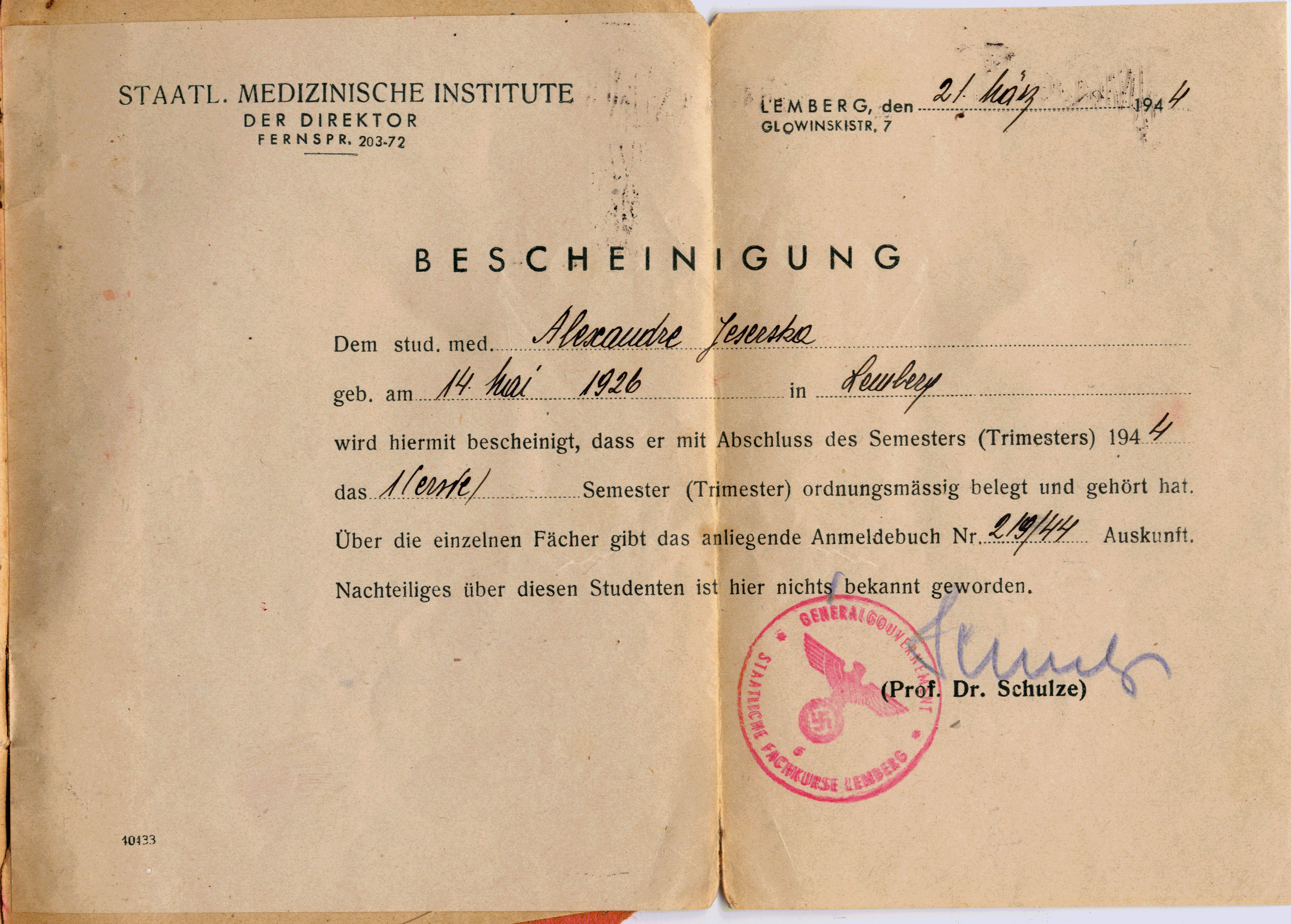 of attendance from Lemberg University Medical School Alexandra – Medical Certificate for School