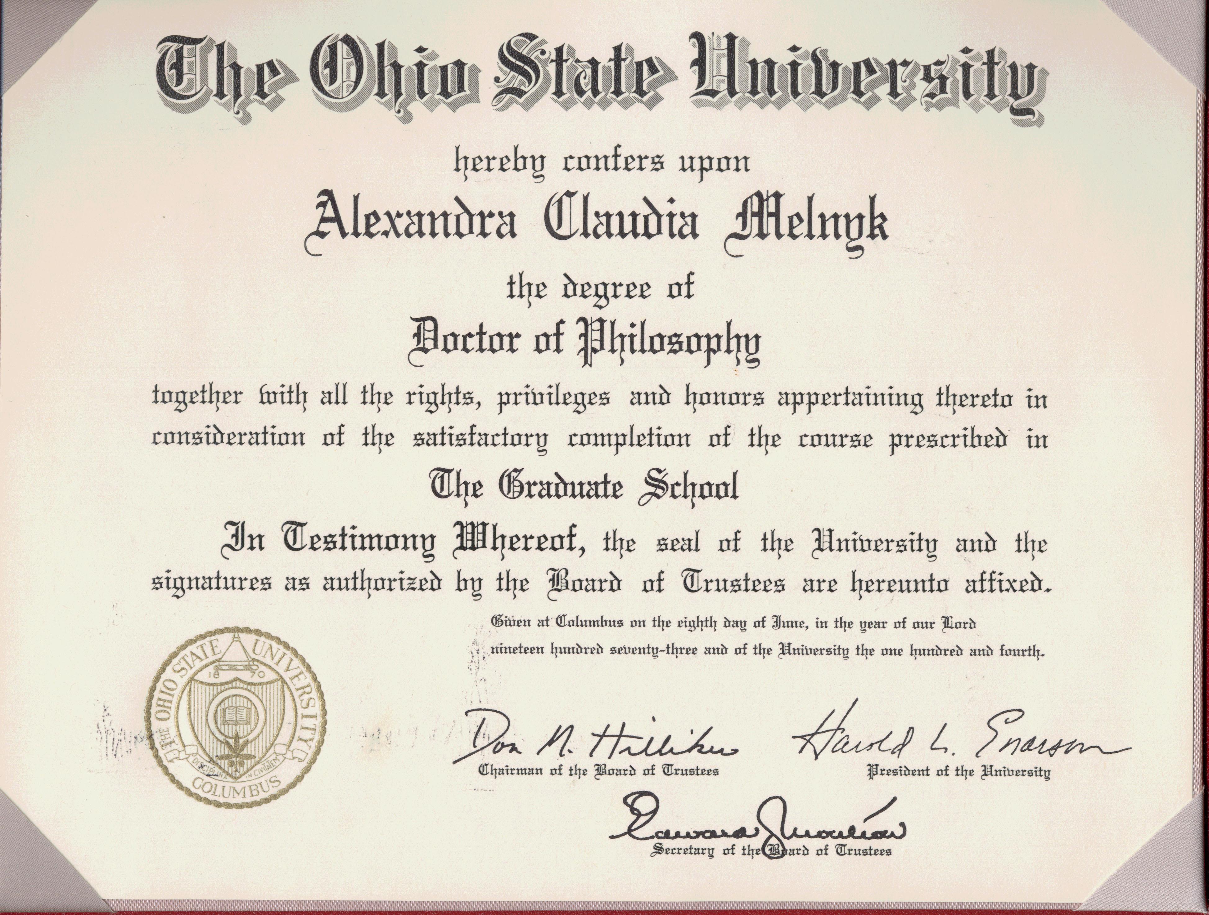 PhD diploma from OSU: Alexandra Klaudia Melnyk (nee Alexandra ...