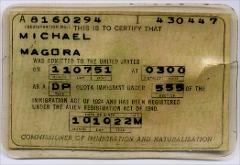 Thumbnail of Alien Registration Card (Green Card): Michael Magora