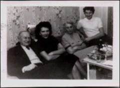 Thumbnail of Photograph: Family and friend, 1955, Poughkeepsie, New York state, United States, Magda Kolcio (nee Ostapiuk's) family and friend Oksana Bedriy