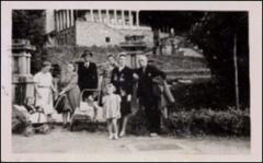 Thumbnail of Photograph: Magda with mother and friends, 1944, Magda Kolcio (nee Ostapiuk), Maria Ostapiuk (nee Szemalikowska), Olia Hnatiuk, Zirka Hnatiuk