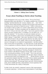 Editors Column Essays About Teaching As Stories About Teaching