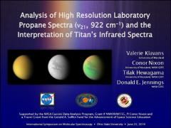 Thumbnail of ANALYSIS OF HIGH RESOLUTION LABORATORY PROPANE SPECTRA ($\nu_{21}$, 922 cm$^{-1}$) AND THE INTERPRETATION OF TITAN'S INFRARED SPECTRA